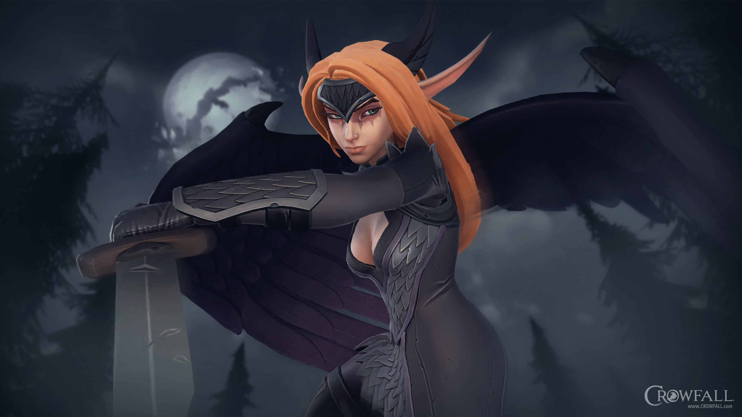 Nächtliche Pirscherin – Crowfall-Wallpaper 2560x1440