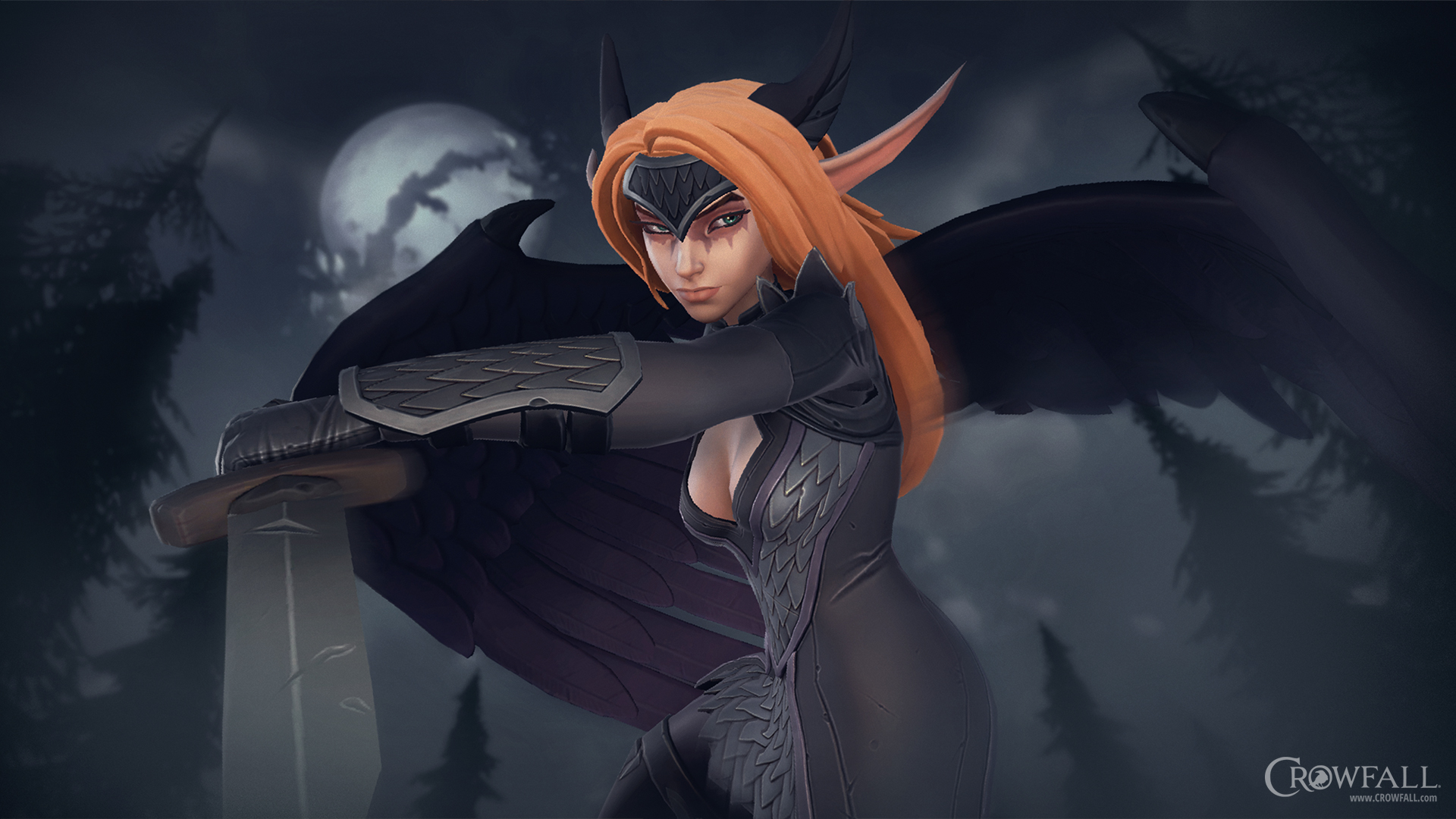 Nächtliche Pirscherin – Crowfall-Wallpaper 1920x1080