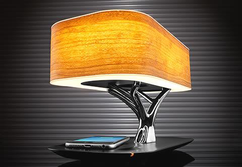 Bonsai Bluetooth Speaker Lamp with Wireless Charging Pad