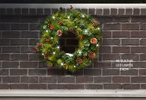 Cordless Pre-Lit Indoor/Outdoor Wreath