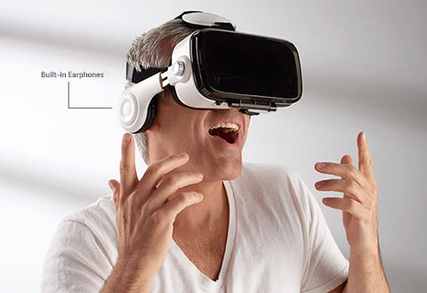 Bluetooth VR Headset with Earphones