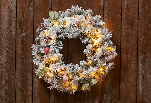 White Flocked Cordless Pre-Lit Indoor/Outdoor Wreath