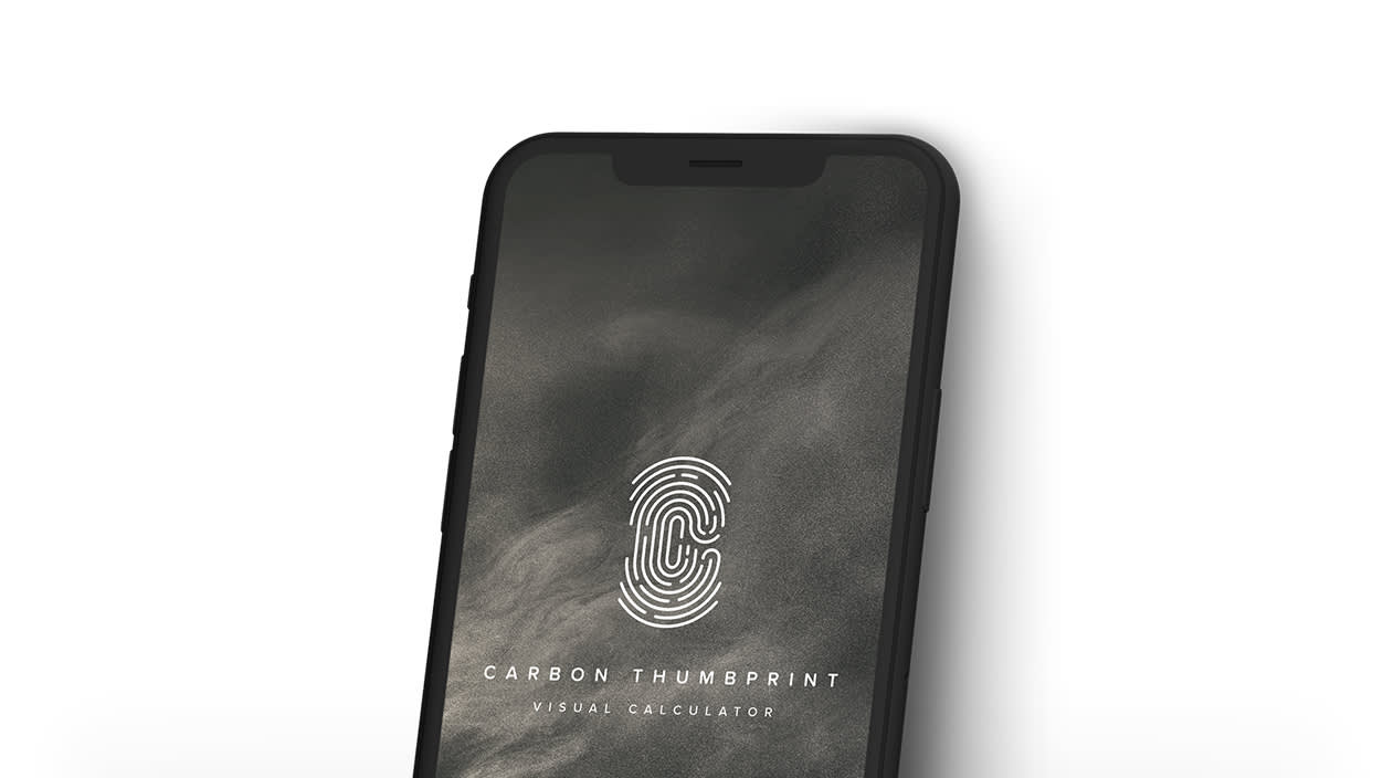 The Carbon Thumbprint app on a mobile screen