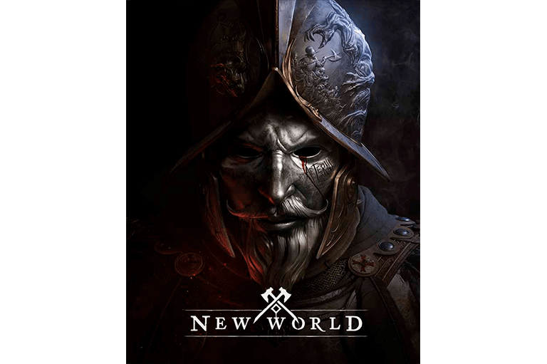 Game box for New World has a shiny metal man