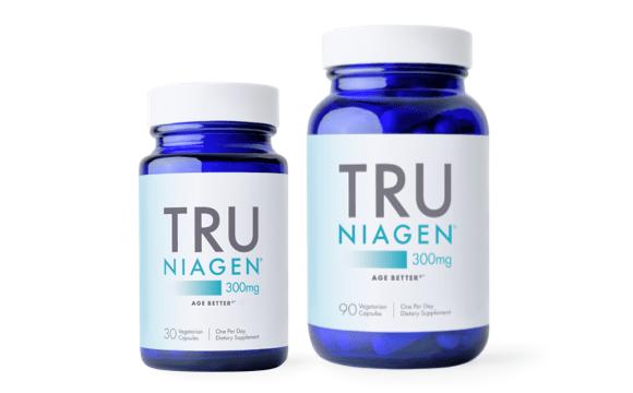 Tru Niagen 300 mg bottle in two sizes