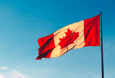 Canadian flag flapping in the wind