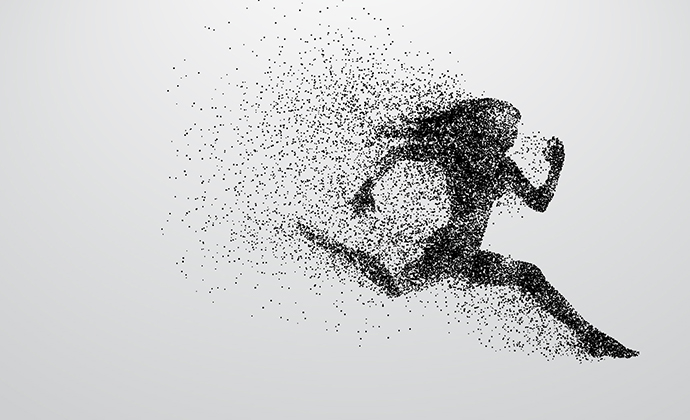A running woman made up of energy.