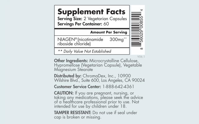 Tru Niagen 150mg supplement facts label