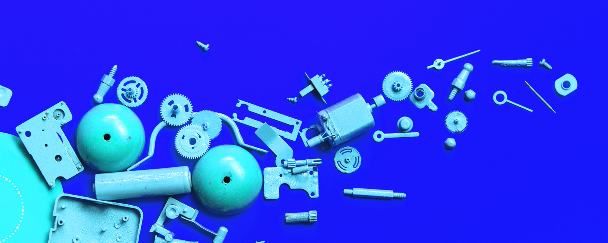 deconstructed parts on a blue canvas