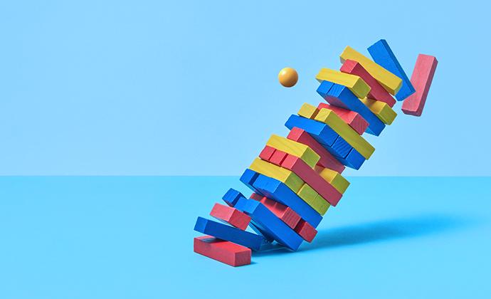 building blocks falling apart