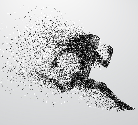 A running woman made up of energy
