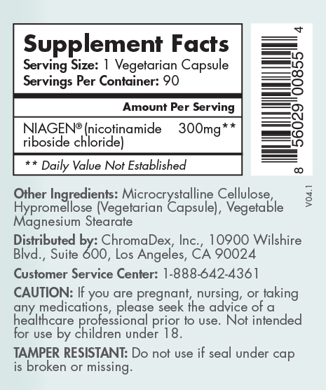 Tru Niagen 300mg 90 count - Supplement facts label