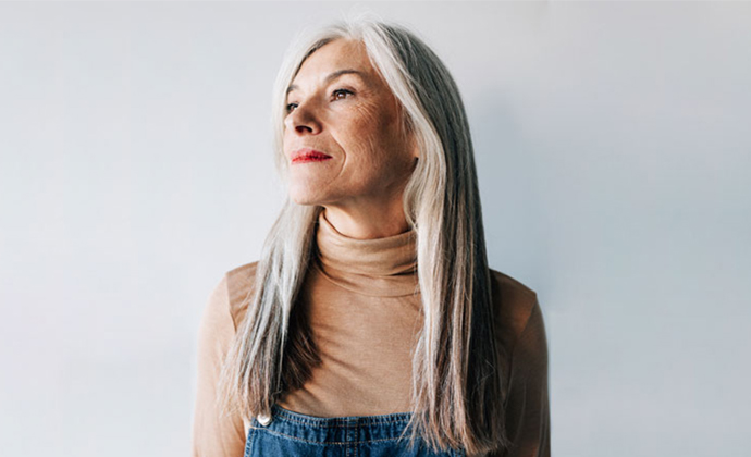 A profile shot of a woman.