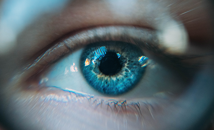 Blue Iris Eye Close Up