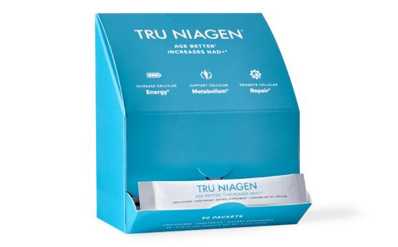 Tru Niagen stickpacks in a dispensary box