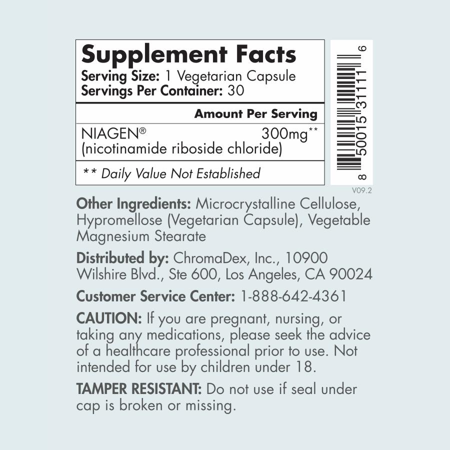 Tru Niagen 300mg 30 count - supplement facts Label