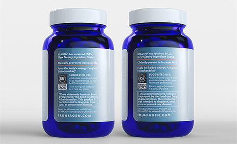 Tru Niagen 300mg 180 count - two bottles - ingredients label