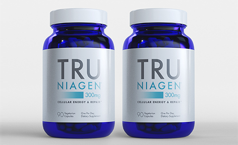 Tru Niagen 300 mg 180 count - Front of two bottles
