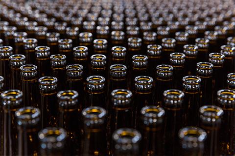 Hundreds of beer bottles