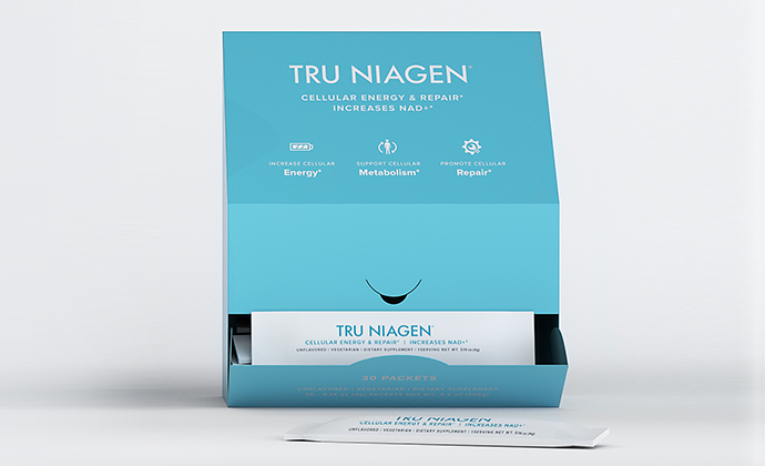 Tru Niagen stickpacks in a dispensary box