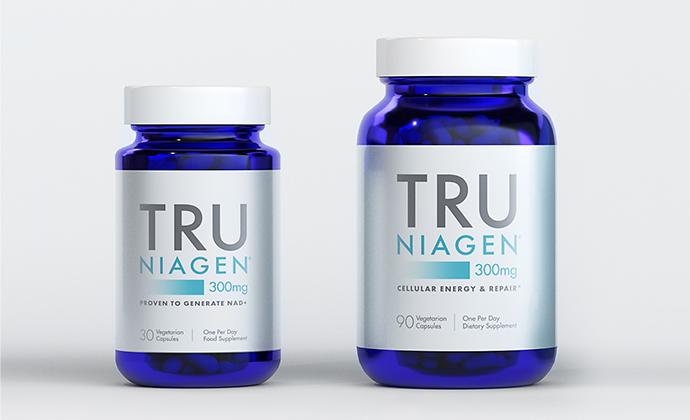 Tru Niagen 300 mg bottle in two sizes