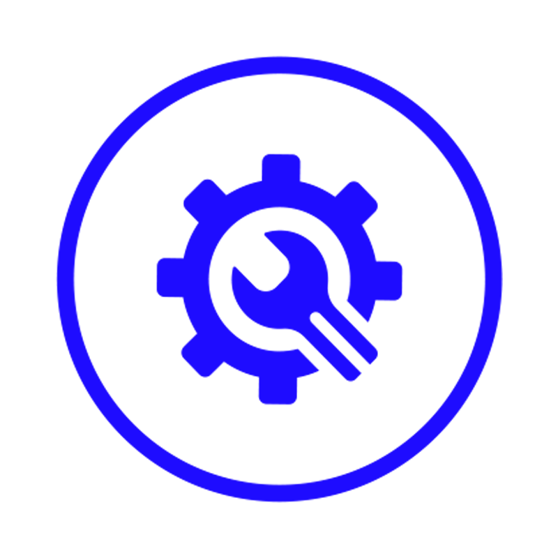 wrench repairing a gear icon