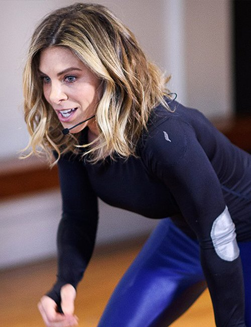 Jillian Michaels leading a workout.