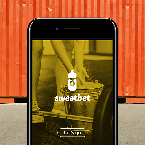 SweatBet app on phone.