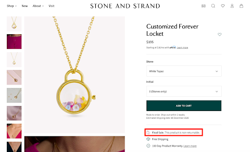 Stone and strand jewelry return policy