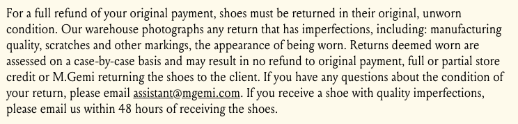 Definition of worn for footwear return policy