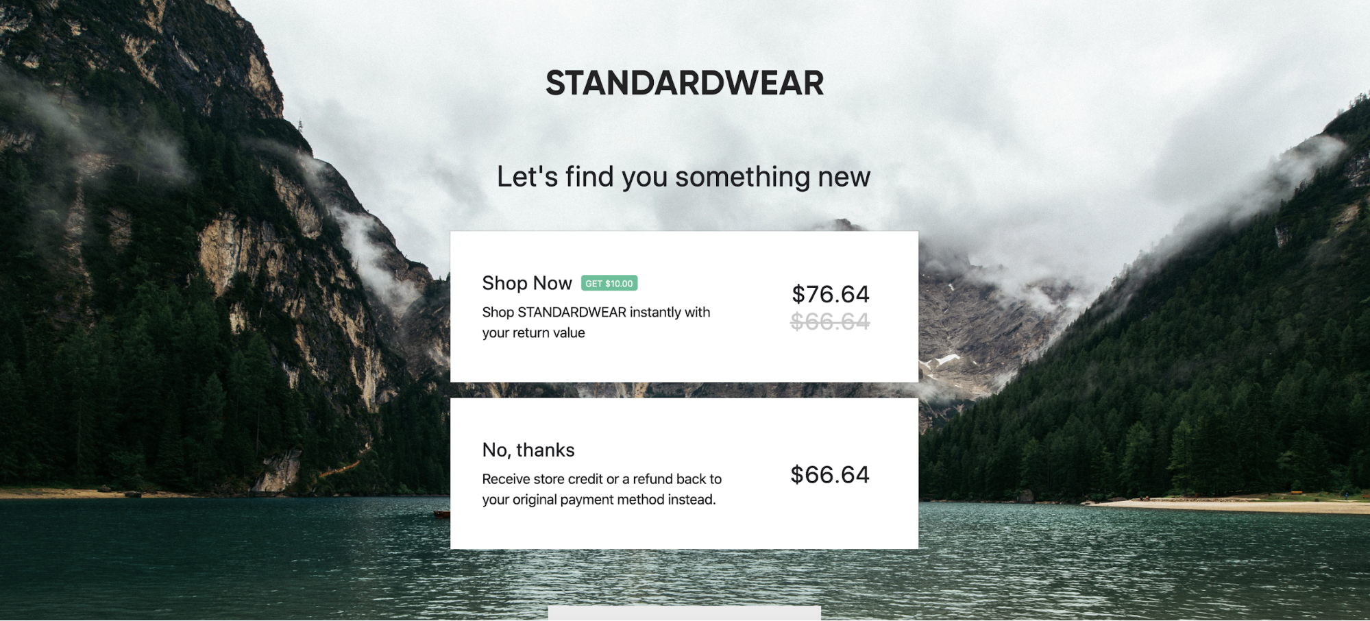 Standardwear returns portal