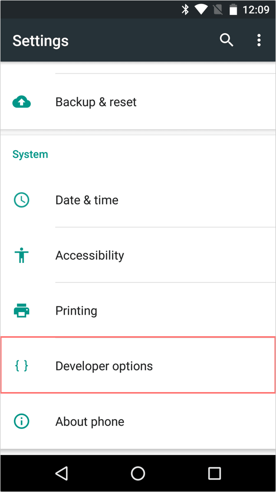 Access the 'Developer options' menu.