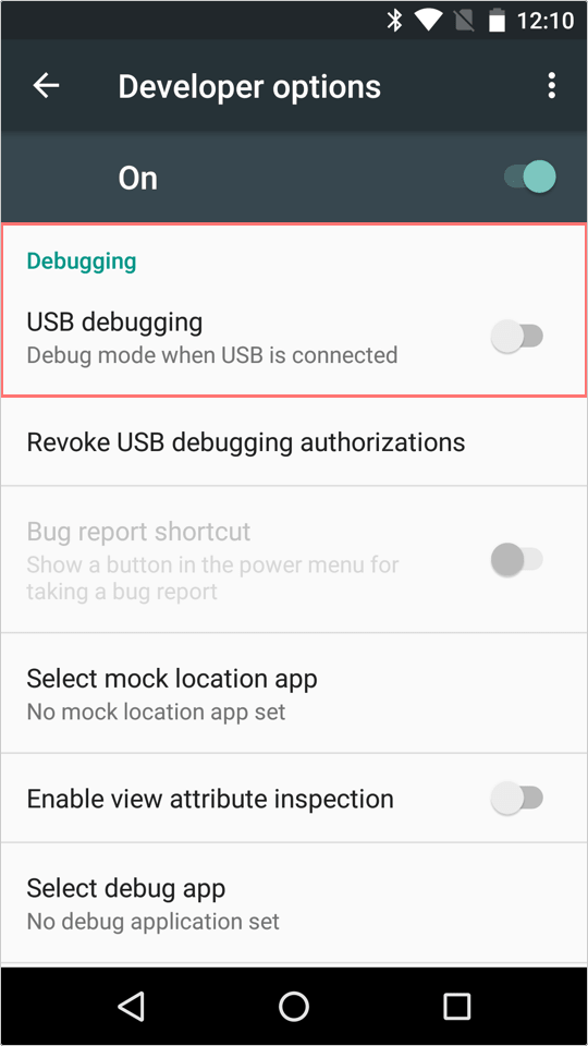 Enable USB debugging option.