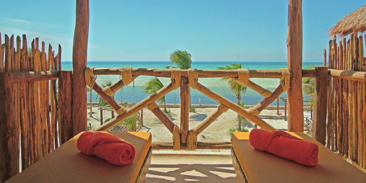 A beautiful view of the Holbox beach from an hotel room terrace