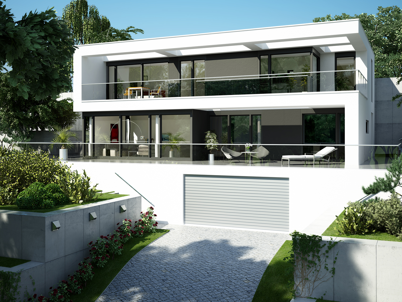 Planungsvorschlag villa im bauhausstil for Modernes haus technik