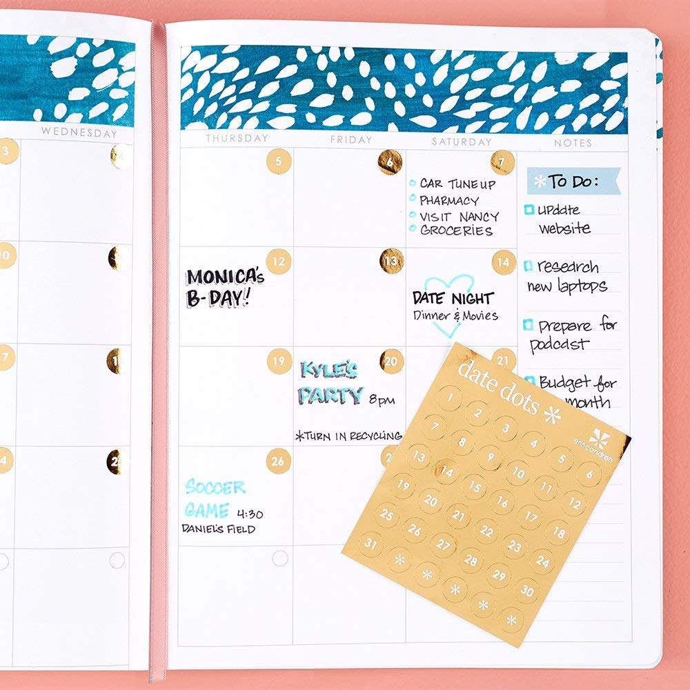 18-Metallic Gold Date Dots Stickers