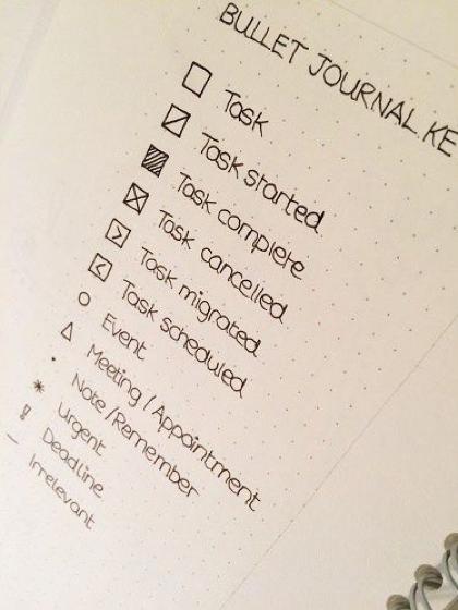 Bullet journal example key