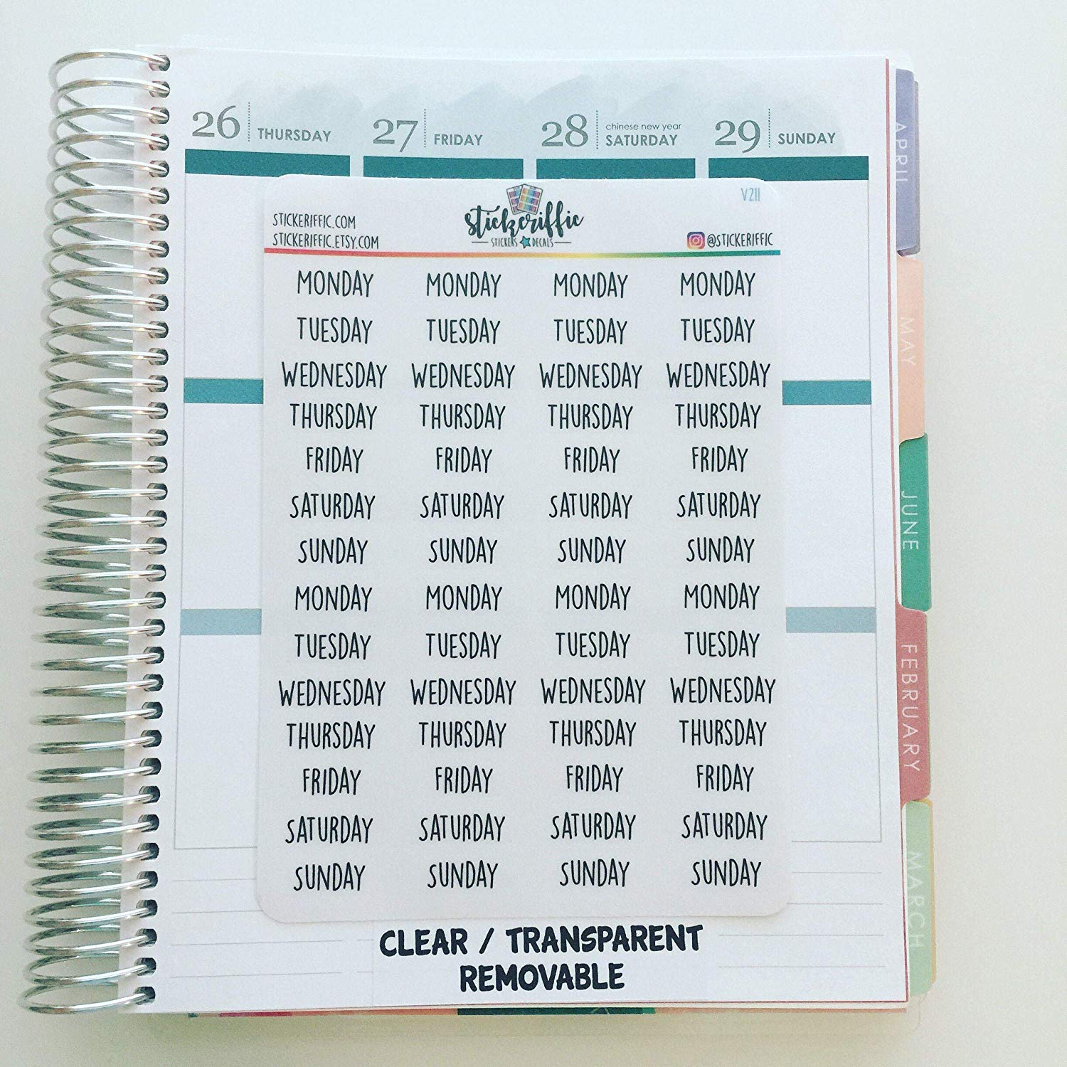 23-Clear Transparent Days of the Week Planner Stickers
