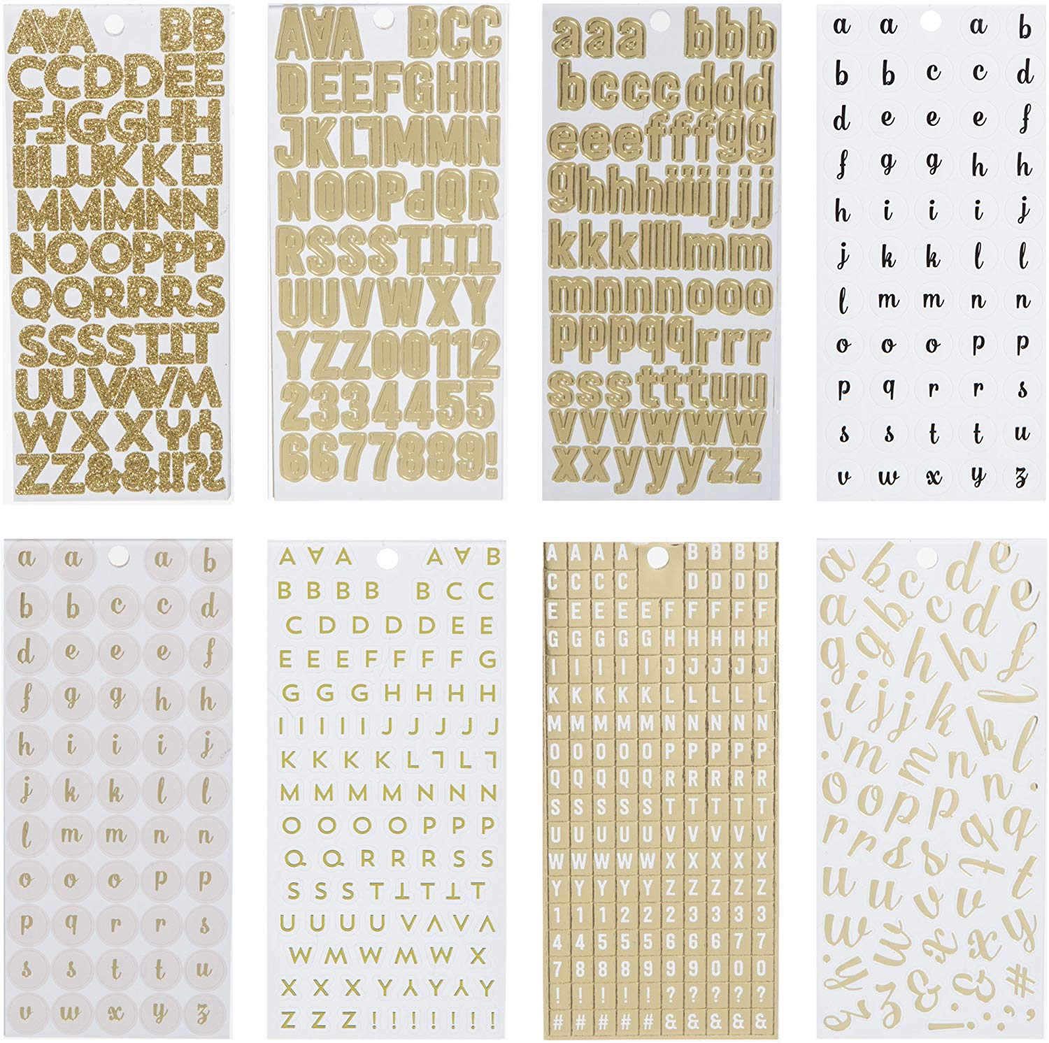 14-Gold Alphabet and Punctuation Stickers