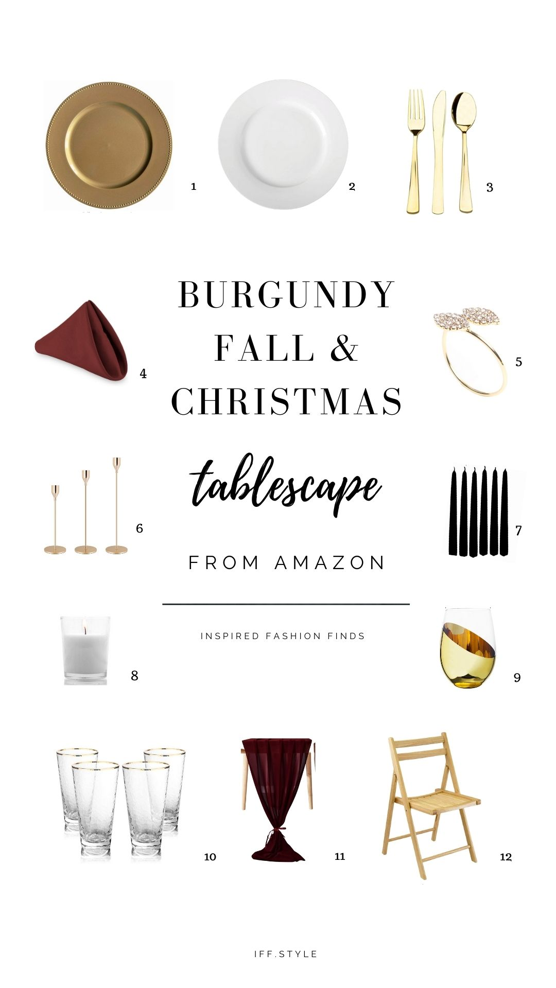 Pinterest Pin-Burgundy and gold boho thanksgiving, christmas, wedding tablescape