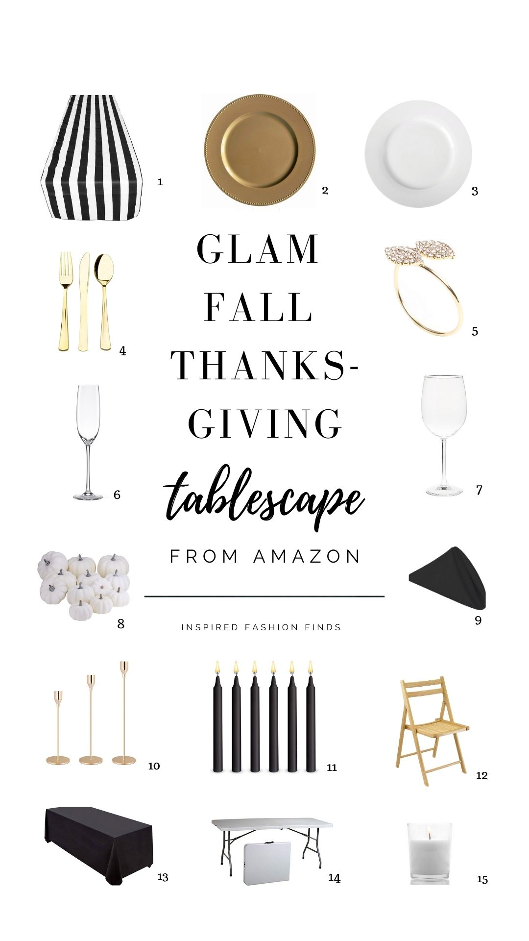 Pinterest Pin-Glam Black White and Gold Fall Thanksgiving tablescape