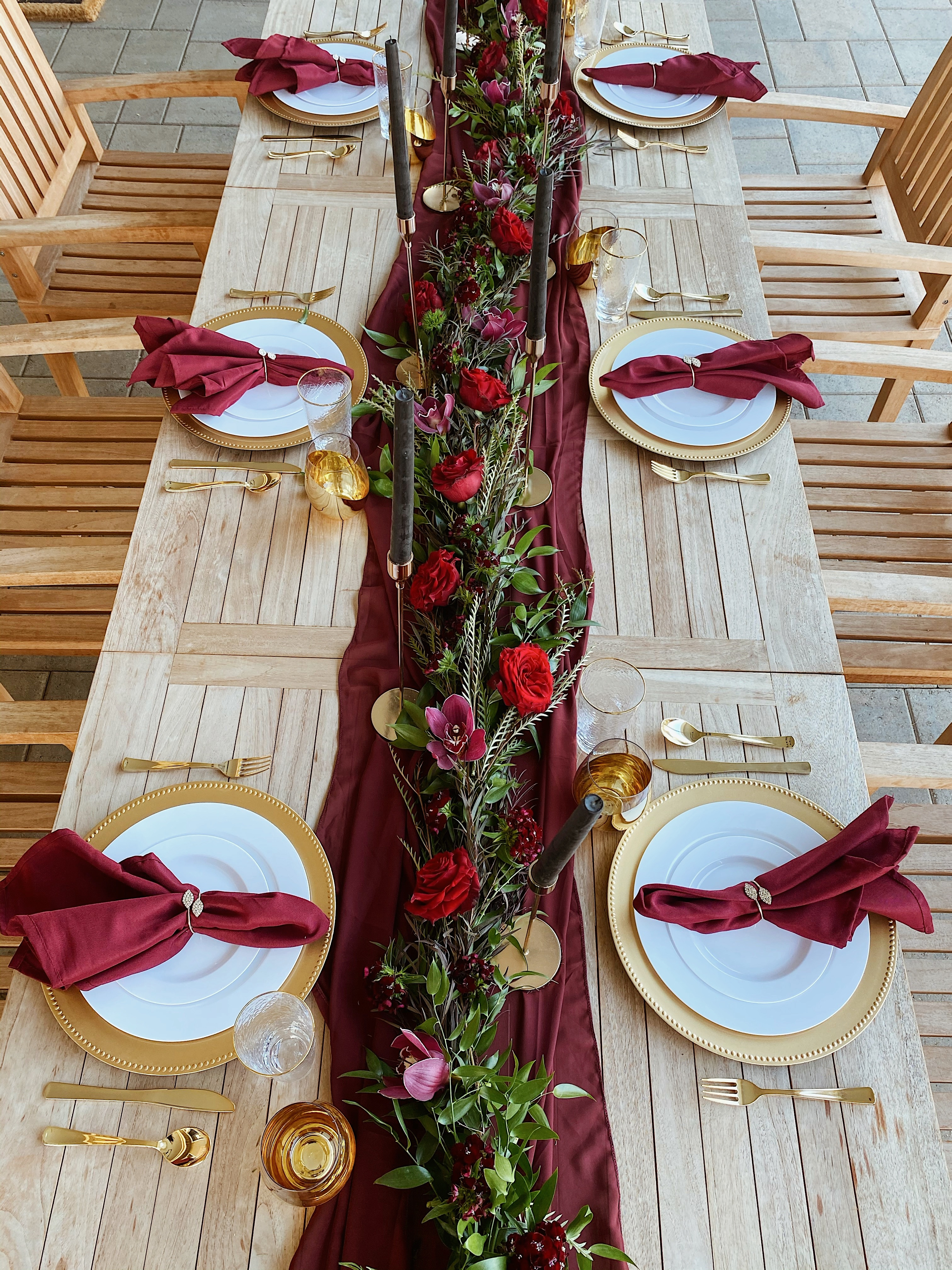 HD-Events Burgundy and gold boho thanksgiving, christmas, wedding tablescape, rehearsal dinner table decor, spring, easter tablescape, brunch, bridal shower, baby shower, baby blessing, baby baptismmoody, romatic decor 7
