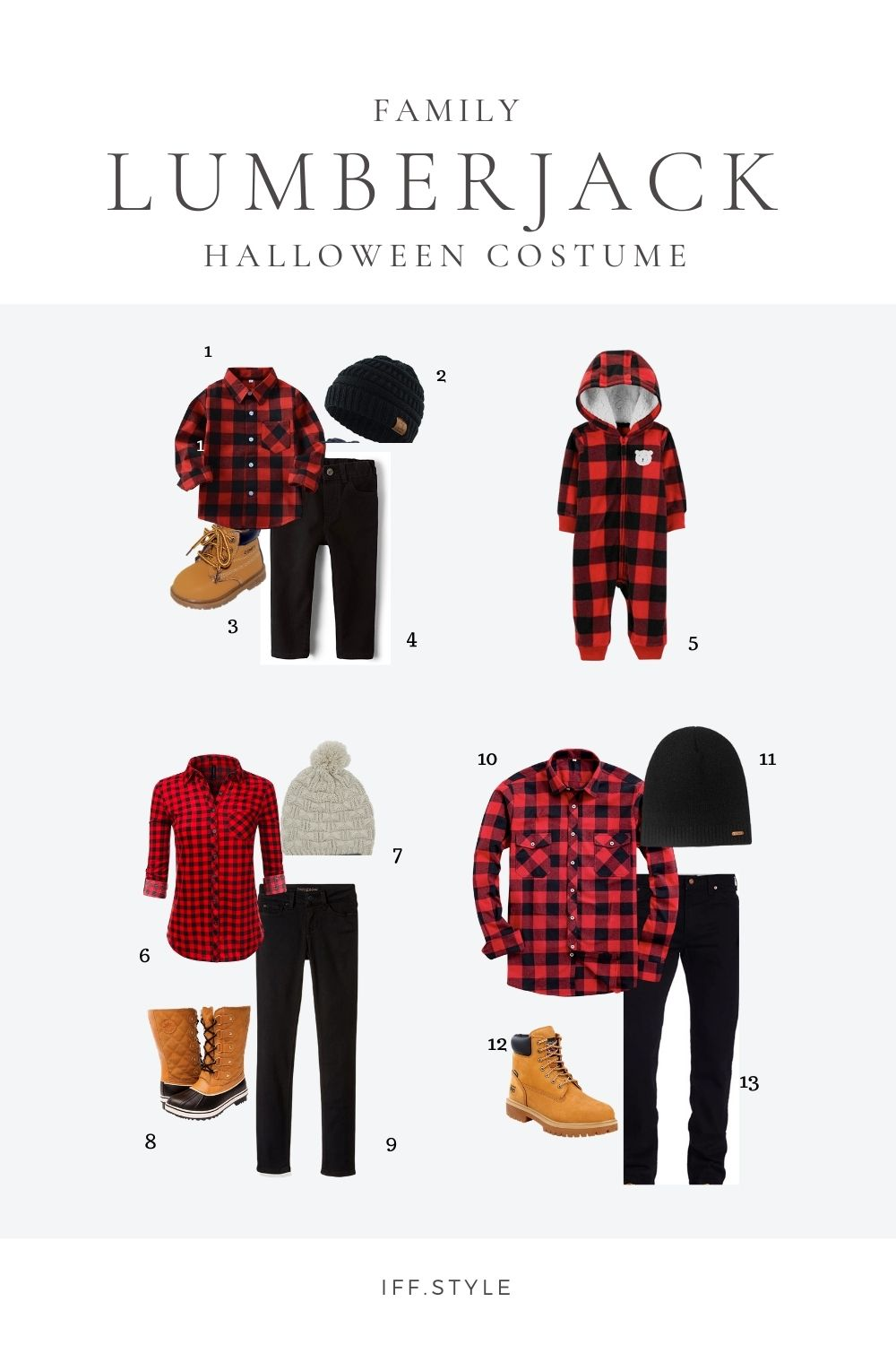 Pinterest Pin-Family Lumberjack themed halloween costume last minute halloween ideas easy halloween costume family coordintated costumes