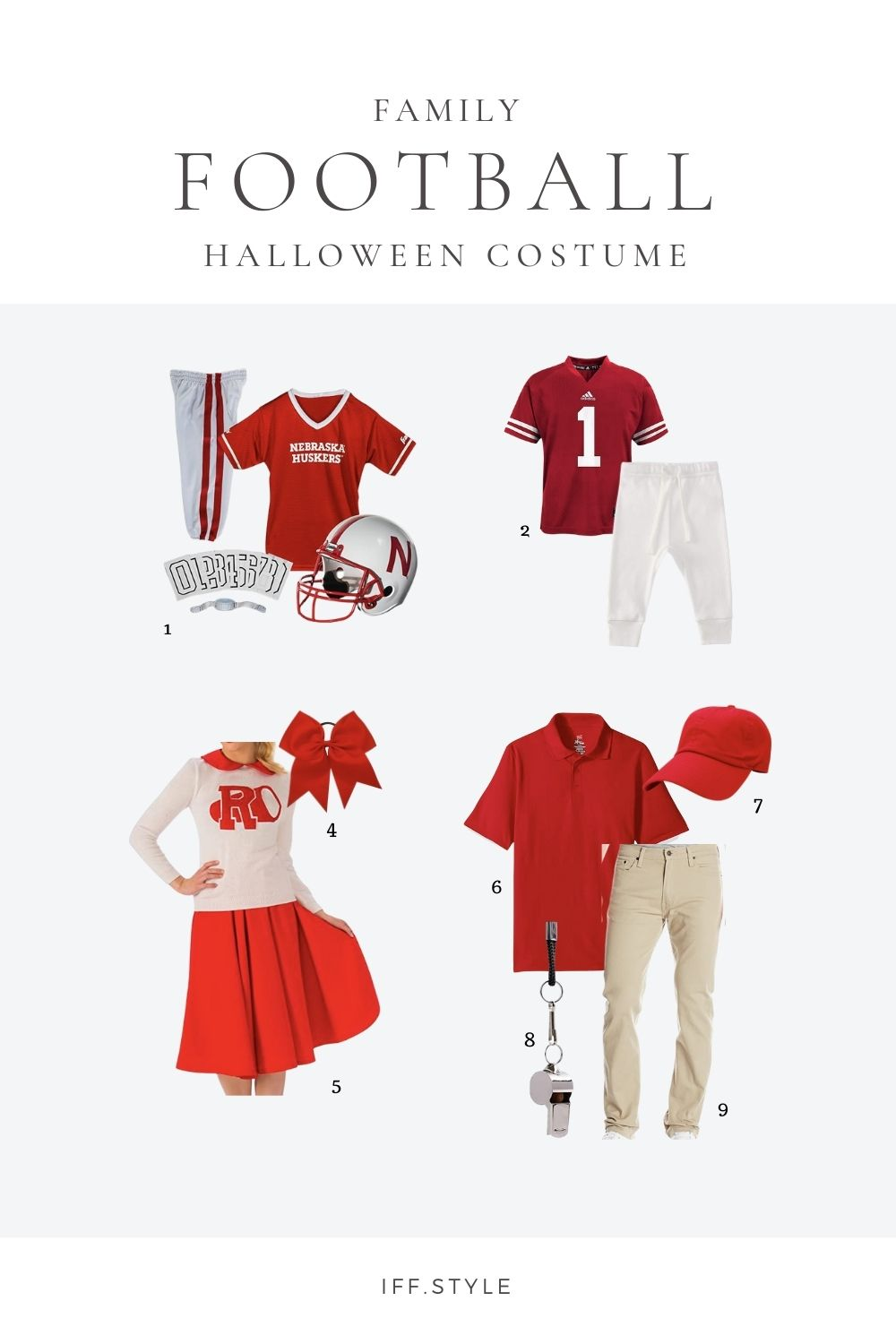 Pinterest Pin-Family football themed halloween costume quick easy last minute family coordinated halloween costumes