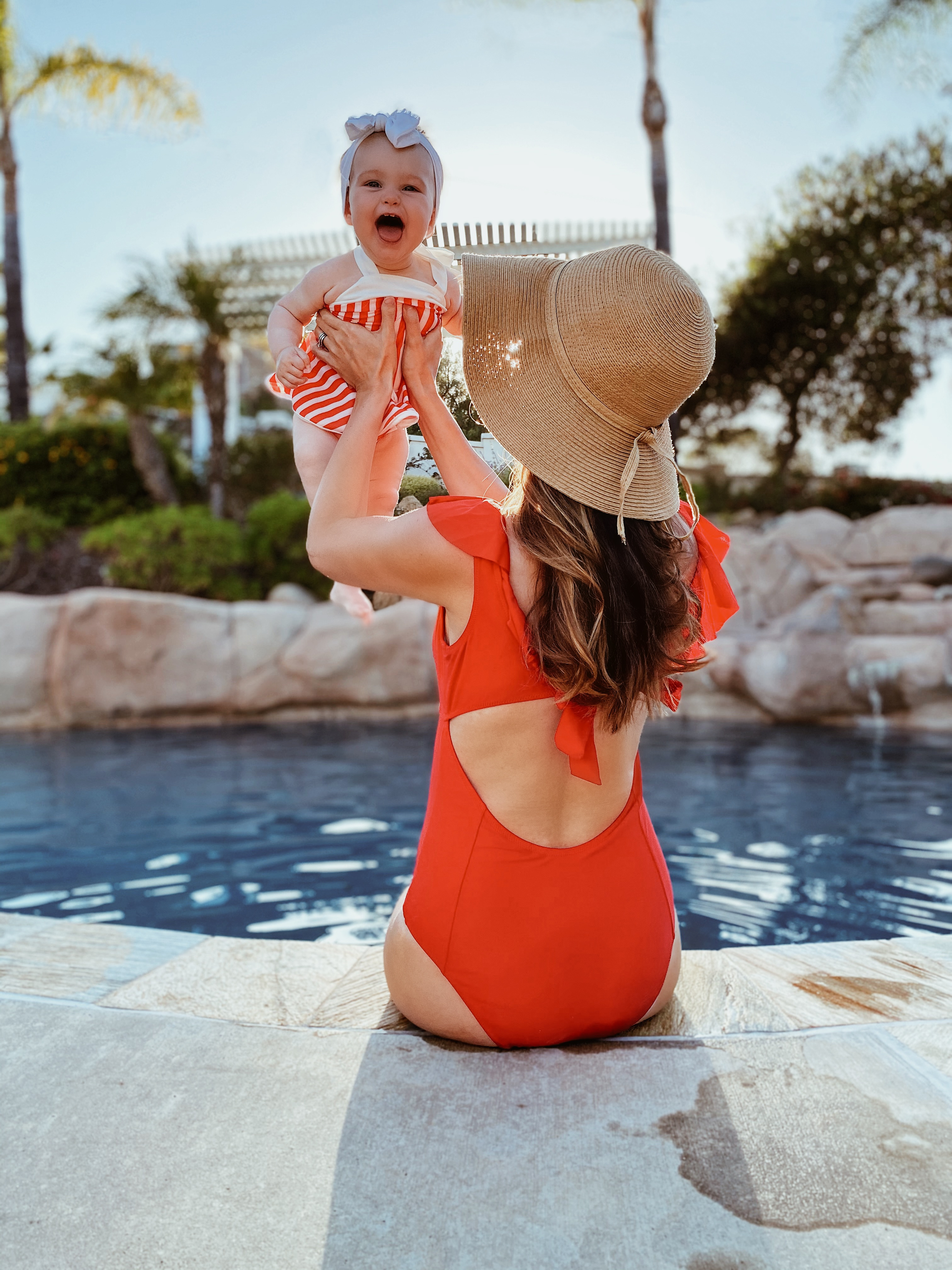 Fashion-Memorial Day Red Swimsuit full coverage one piece mother daughter beach photos matching swimsuits 4th of july pool looks