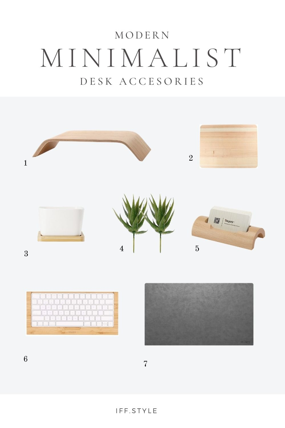 Pinterest Pin-Modern Minimalist Wood desk accesories office decor