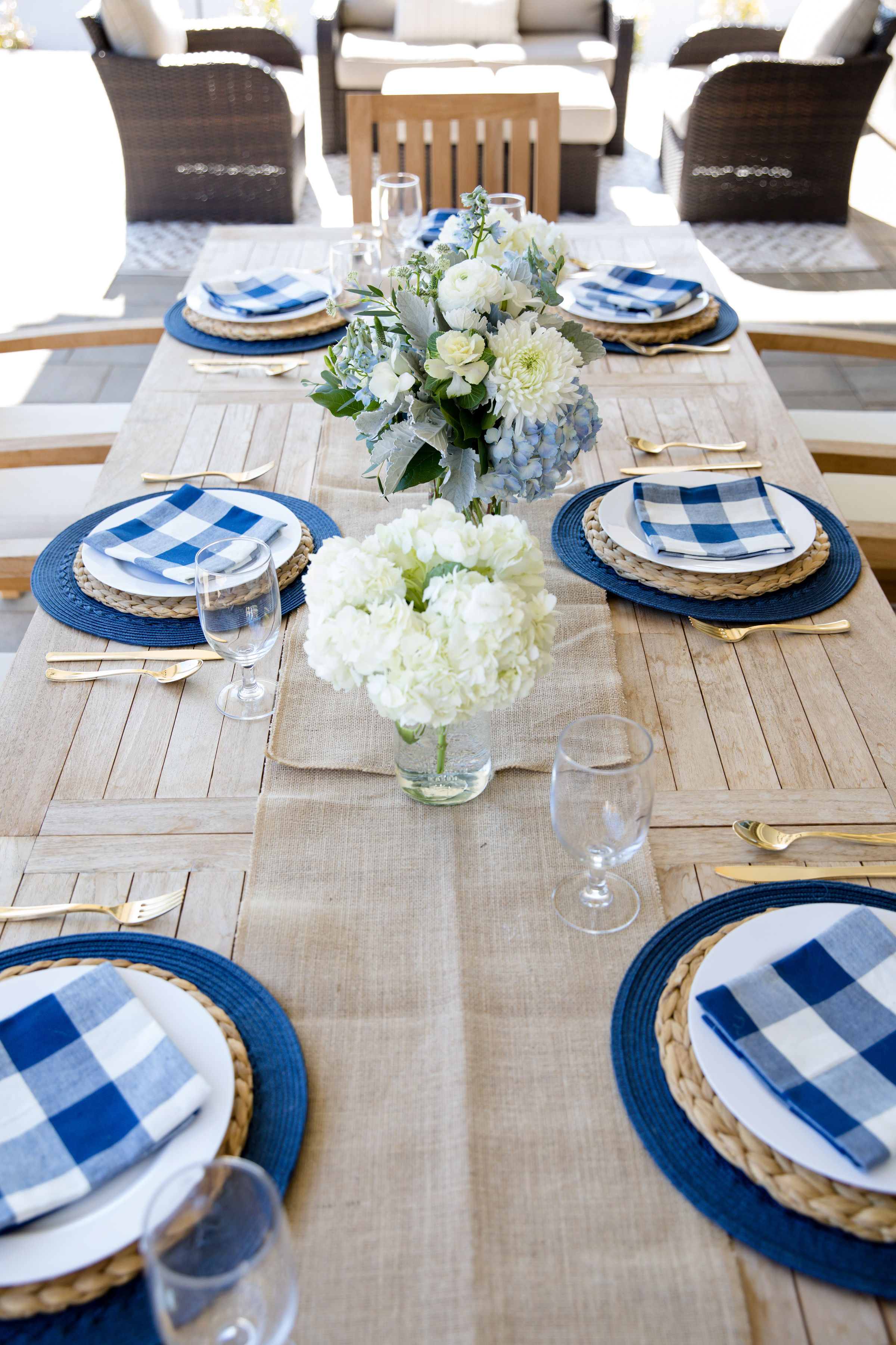 Events-Easter Spring Table Decor Blue and White Gingham tablescape brunch, baby boy shower, baby boy baptism, blessing, thanksgiving, 4th of july, decor, bridal shower 3