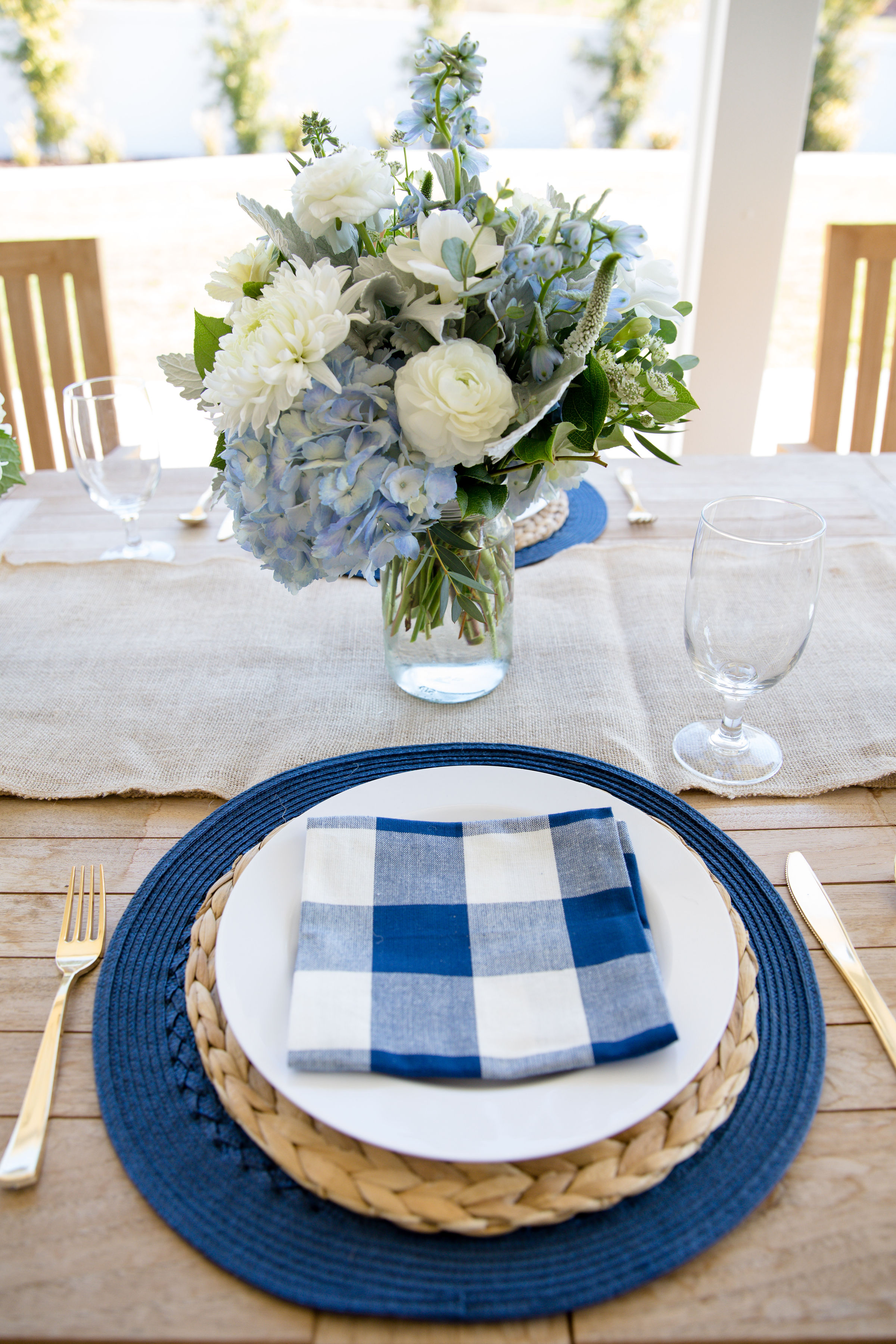 Events-Easter Spring Table Decor Blue and White Gingham tablescape brunch, baby boy shower, baby boy baptism, blessing, thanksgiving, 4th of july, decor, bridal shower 2