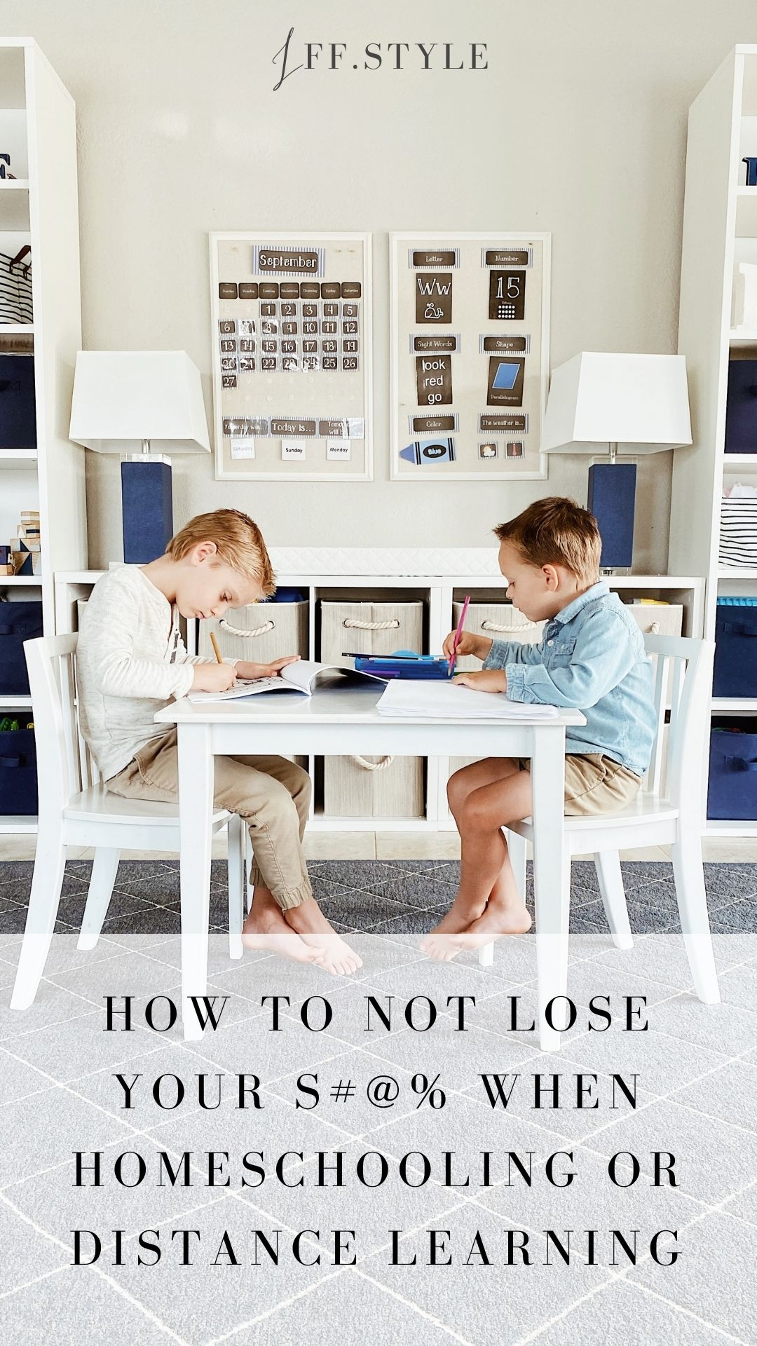 Pinterest Pin-How to not lose it when homeschooling or distance learning