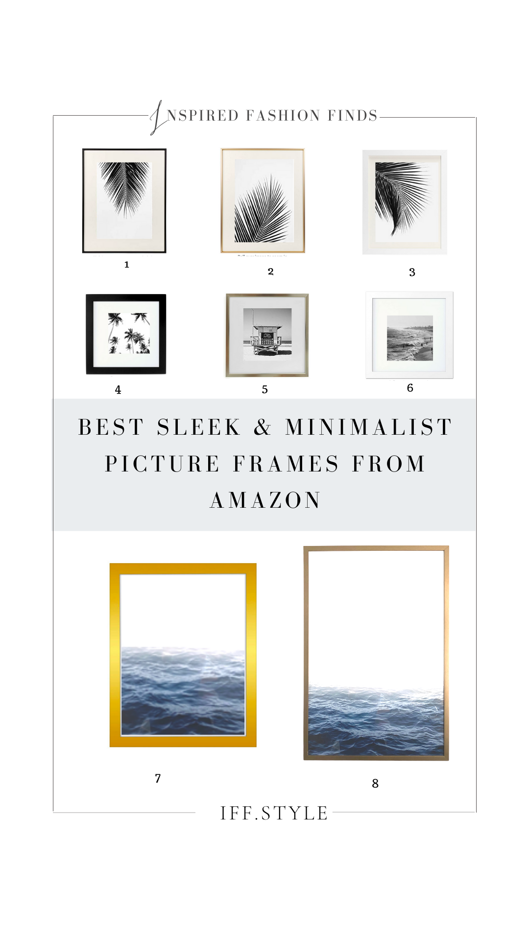 Pinterest Pin Collage-Best Sleek and Minimalist gold black white picture frames from amazon